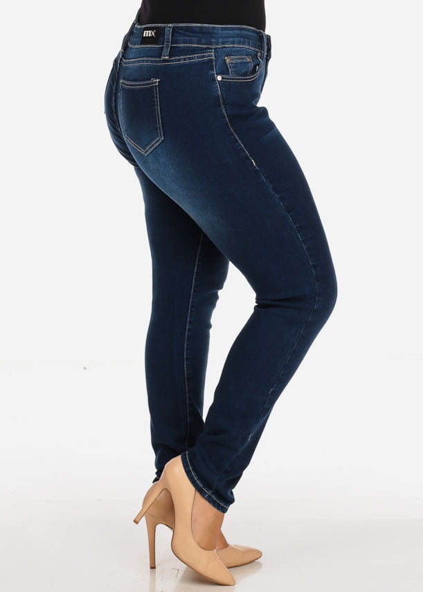 Women's Stylish Curvy Super Stretchy Body Sculpting Plus Size Dark Wash Skinny Jeans