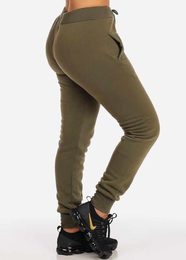 High Waisted Drawstring Jogger Pants (Green)