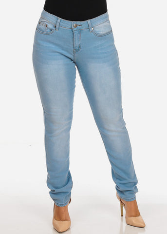 Image of Women's Stylish Curvy Super Stretchy Body Sculpting Plus Size Light Wash Skinny Jeans