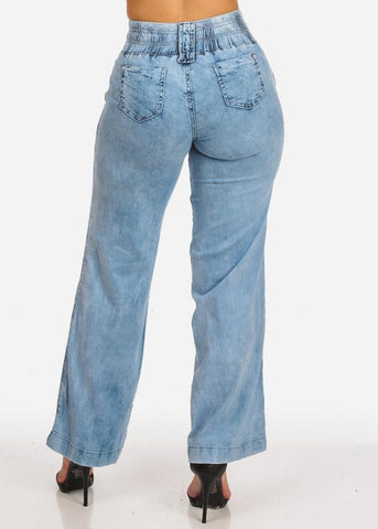 Image of High Waisted Light Wide Leg Jeans