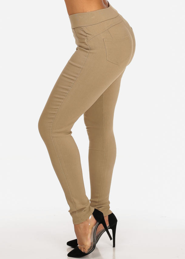 High Rise Pull On Beige Pants