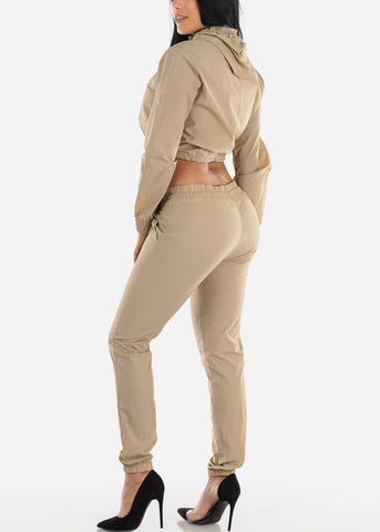 Image of Beige Windbreaker Jacket & Pants (2 PCE SET)