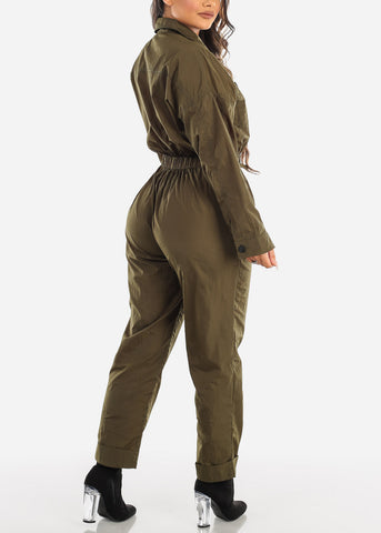 Image of Windbreaker Olive Jumpsuit