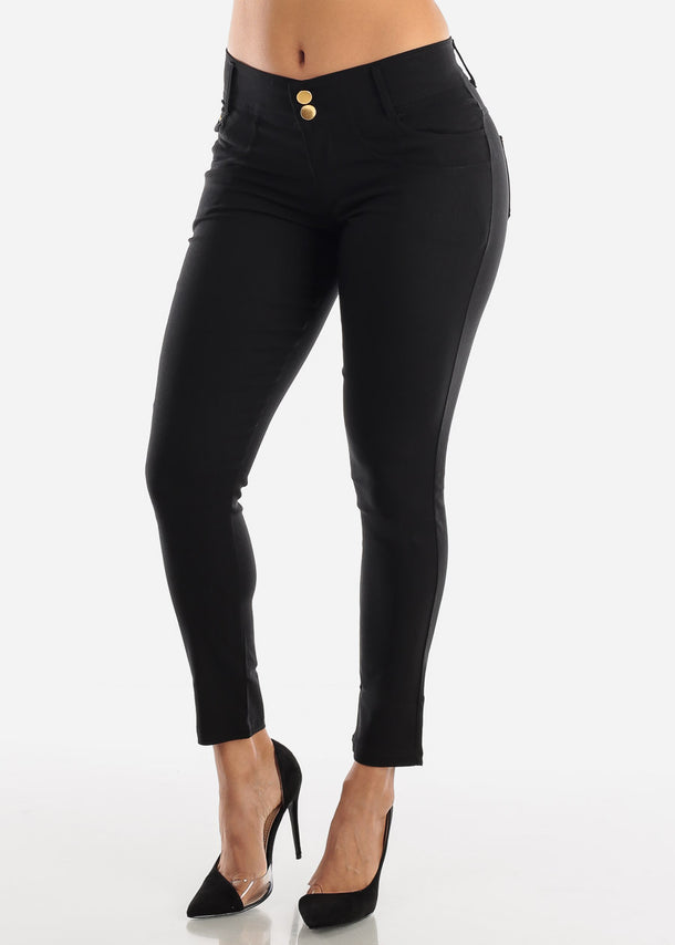 2 Button Black Skinny Pants