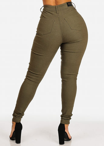 Classic High Waisted Skinny Jeans (Olive)