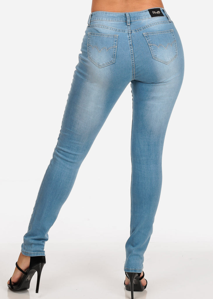 Women's Junior Ladies Cute Must Have 1 Button Low Rise Light Wash Skinny Jeans
