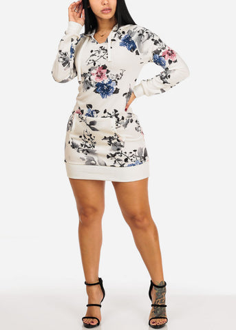 Image of White Floral Tunic Top