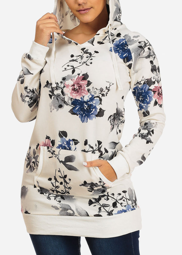 Stylish Long Sleeve White Floral Print Kangaroo Pocket Tunic Top W Hood