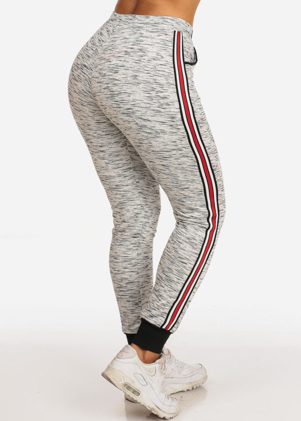 Women's Casual High Rise Stripe Sides Grey Joggers Track Workout Pants