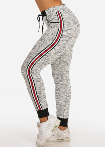 Image of Women's Casual High Rise Stripe Sides Grey Joggers Track Workout Pants