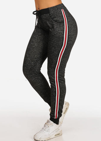 Women's Casual High Rise Stripe Sides Black Heather Joggers Track Workout Pants