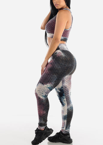 Image of Anti Cellulite Tie Dye Burgundy Sports Bra & Leggings  (2 PCE SET)