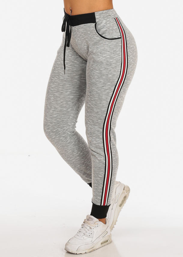 Women's Casual High Rise Stripe Sides Light Grey Joggers Track Workout Pants