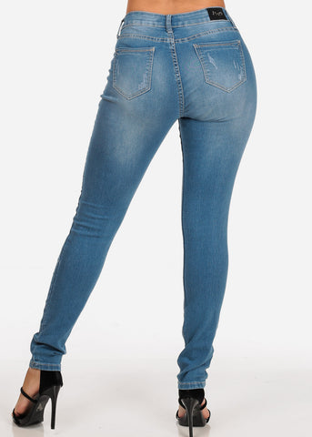 Image of Women's Junior Ladies Must Have Casual Stretchy 1 Button Low Rise Distressed Light Wash Skinny Jeans