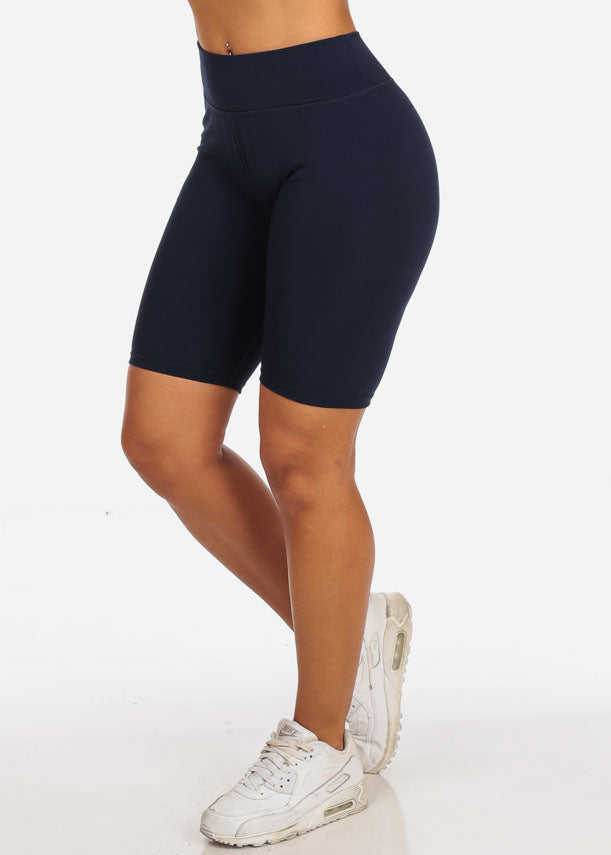 Navy  Active Wear Workout Gym Running Training Mid Thigh Spandex Active Short Leggings Bike Shorts