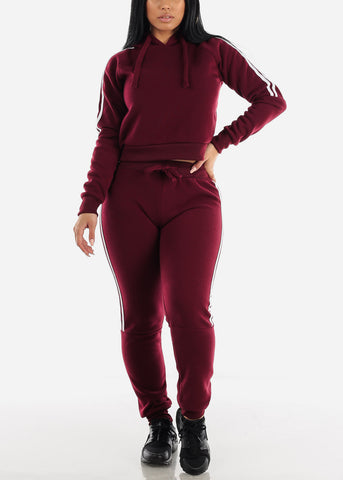 Image of Side Stripe Burgundy Cropped Hoodie & Jogger Sweatpants (2 PCE SET)