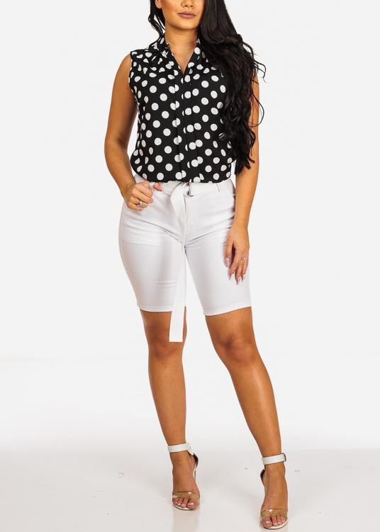 Affordable White Mid Rise Bermuda Shorts