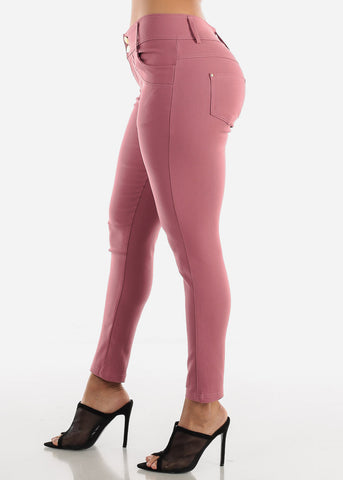Image of 2 Button Mauve Skinny Pants