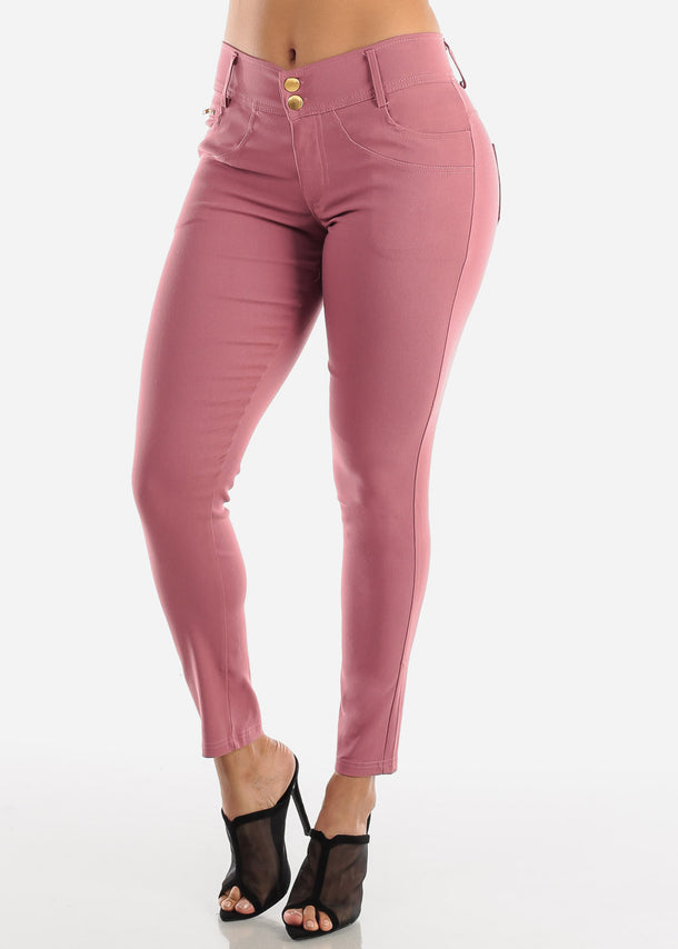 2 Button Mauve Skinny Pants