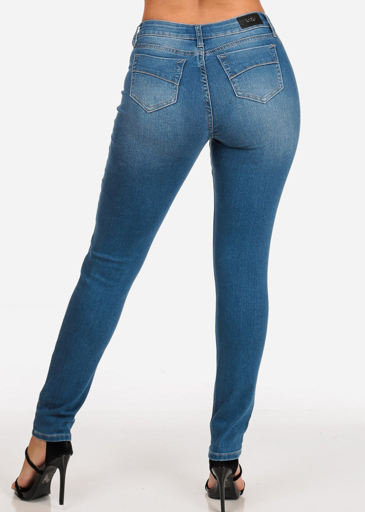Women's Junior Ladies Cute Casual Must Have 1 Button Low Rise Med Wash Skinny  Jeans