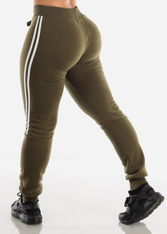 Image of Side Stripe Olive Cropped Hoodie & Jogger Sweatpants (2 PCE SET)