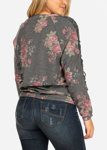 Women's Junior Cozy Lace Up Design Long Sleeve Charcoal Floral Print Pull Over Pullover Sweatshirt Sweater Top