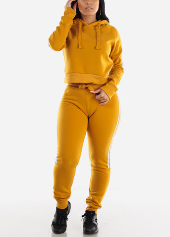 Side Stripe Mustard Cropped Hoodie & Jogger Sweatpants (2 PCE SET)