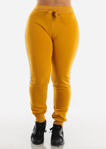 Image of Side Stripe Mustard Cropped Hoodie & Jogger Sweatpants (2 PCE SET)