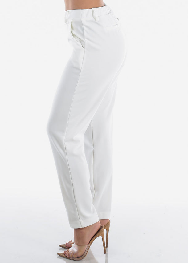Pull On Ivory Dressy Pants