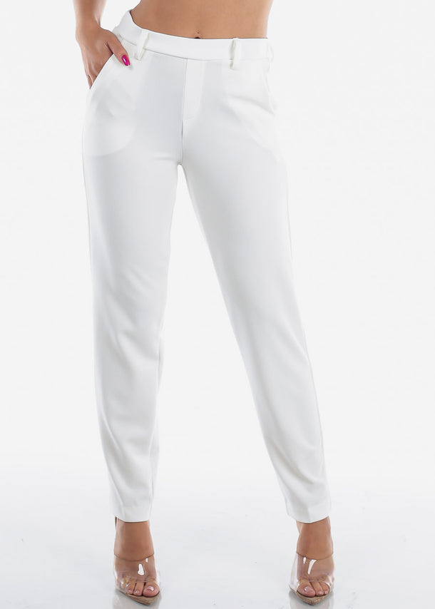 b5c8775c5 High Waisted Pull On Cute Solid Ivory Straight Leg Dressy Office Career  Business Wear Pants For ...