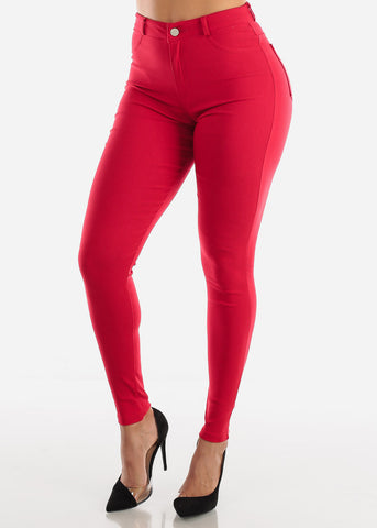 Red High Waisted Skinny Pants