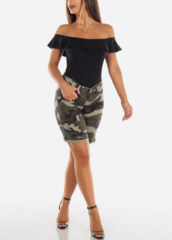 Image of Cute Sexy Low Rise Camouflage Army Print Stretchy Bermuda Shorts For Women Ladies Junior