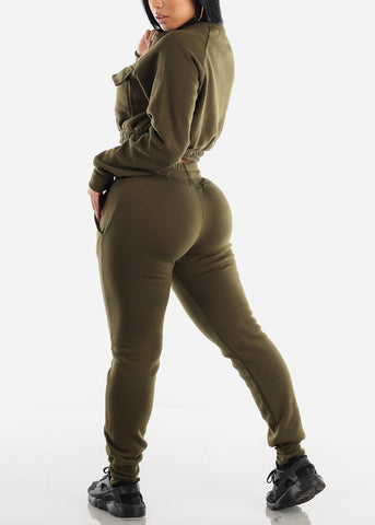 Image of Olive Cropped Jacket & Jogger Pants (2 PCE SET)