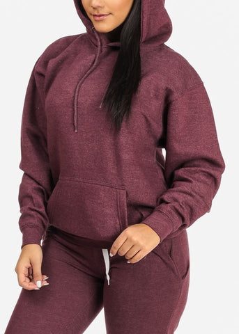 Image of Kangaroo Pocket Maroon Sweater W Hood