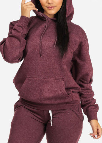 Kangaroo Pocket Maroon Sweater W Hood