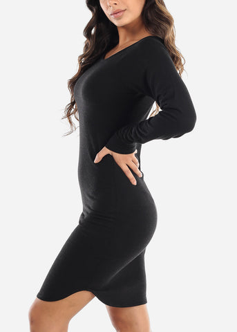 Image of Casual Long Sleeve Black Dress