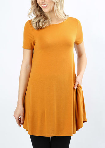 Round Hem Flared Mustard Tunic Top