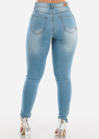 Image of Sexy High Waisted Light Wash Ripped Distressed Skinny Jeans With Leg Zipper For Women Ladies Junior
