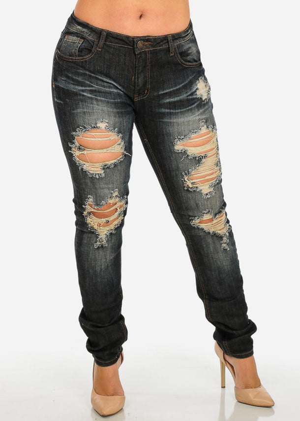 Plus Size Dark Distressed Jeans
