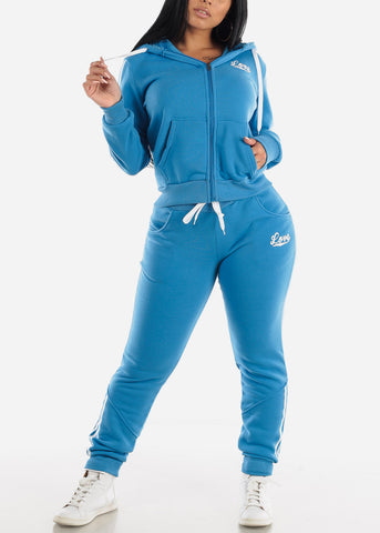Image of Blue Fleece Full Zip Up Hoodie & Jogger Sweatpants ( 2 PCE SET)