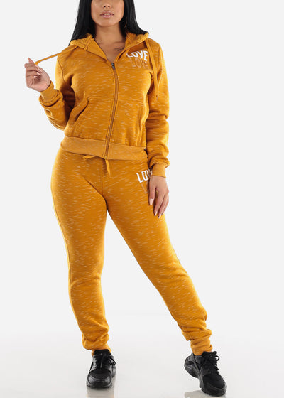 Mustard Zip Up Hoodie & Jogger Sweatpants (2 PCE SET)
