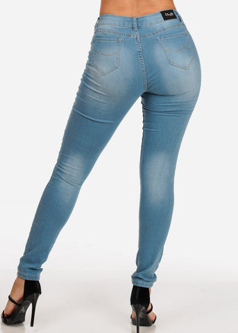 Women's Junior Ladies Low Rise 1 Button Solid Color Light Wash Skinny Jeans