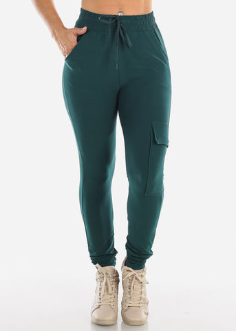 High Waisted Side Stripe Stretchy Dark Green Cargo Jogger Pants