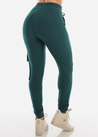 High Rise Dark Green Cargo Jogger Pants