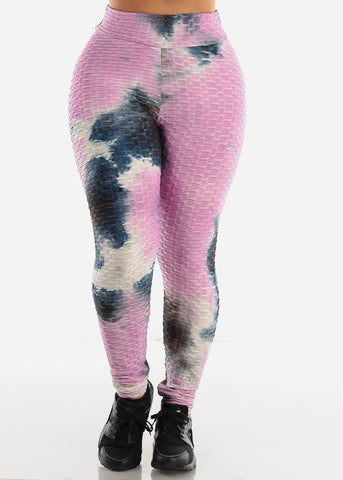 Anti Cellulite Tie Dye Pink Hoodie & Leggings  (2 PCE SET)