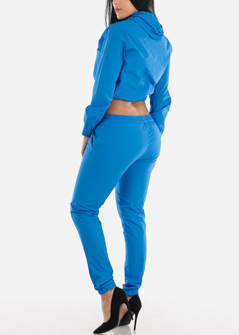 Image of Blue Windbreaker Jacket & Pants (2 PCE SET)