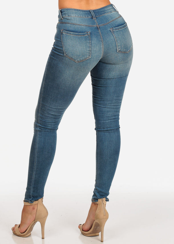 NINE PLANET Mid Rise Light Blue Skinny Jeans