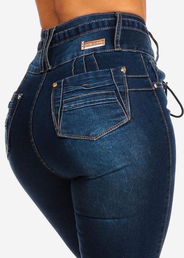 Dark High Waisted Butt Lifting Jeans