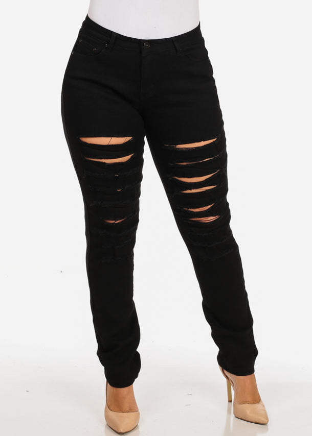 Women's Stylish Curvy Super Stretchy Body Sculpting Plus Size Distressed Black Skinny Jeans