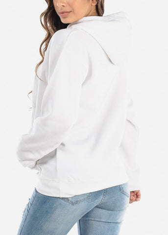 Image of Pullover Style White Hoodie Sweatshirt
